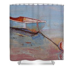 Faithful Dinghy Shower Curtain by Trina Teele