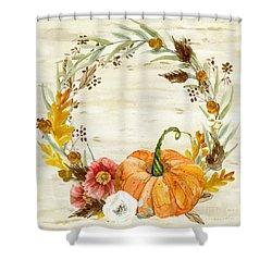 Fall Autumn Harvest Wreath On Birch Bark Watercolor Shower Curtain