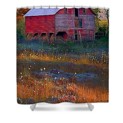 Fall Barn Shower Curtain by Ron Jones