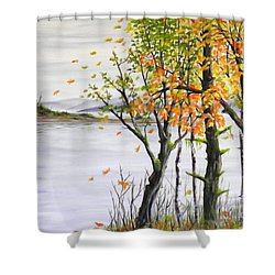 Fall Blows In Shower Curtain