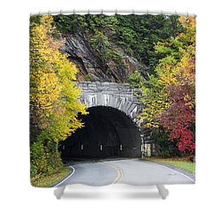Fall Blue Ridge Parkway @ Rough Ridge Tunnel  Shower Curtain