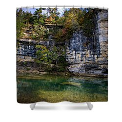 Shower Curtain featuring the photograph Fall Bluff At Ozark Campground by Michael Dougherty
