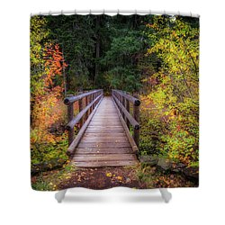 Shower Curtain featuring the photograph Fall Bridge by Cat Connor