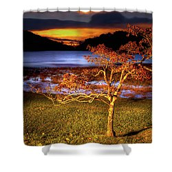 Fall Colors At Sunrise In Otter Blue Ridge Shower Curtain by Dan Carmichael