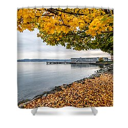 Shower Curtain featuring the photograph Fall Colors Framing Commencement Bay by Rob Green