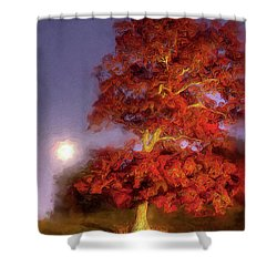 Fall Colors Moonrise In The Blue Ridge Ap Shower Curtain by Dan Carmichael