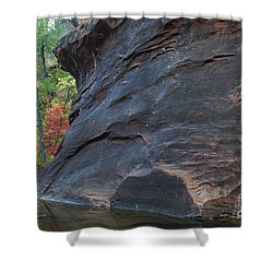 Fall Colors Peek Around Mountain Horizontal Number 1 Shower Curtain by Heather Kirk