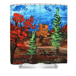 Shower Curtain featuring the painting Fall Colours #1 by Anastasiya Malakhova
