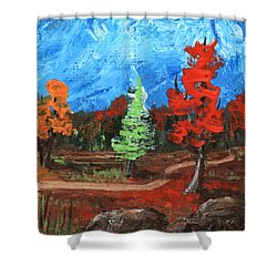 Shower Curtain featuring the painting Fall Colours #2 by Anastasiya Malakhova