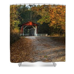 Shower Curtain featuring the photograph Fall Covered Bridge by Dale Kincaid