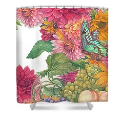 Fall Florals With Illustrated Butterfly Shower Curtain