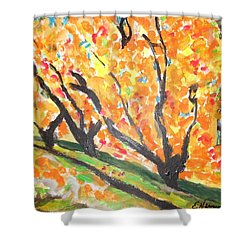 Shower Curtain featuring the painting Fall Foliage by Esther Newman-Cohen