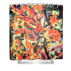 Fall Forest In Red And Black Shower Curtain by Esther Newman-Cohen