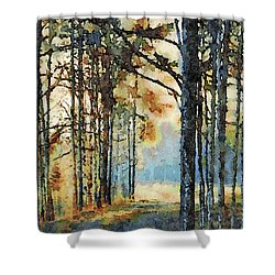 Fall Forest Watercolor Shower Curtain