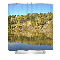 Fall Hues On The North Saskatchewan River Shower Curtain by Jim Sauchyn