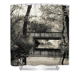 Fall In Black And White Shower Curtain