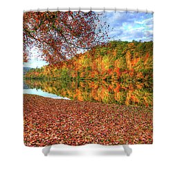 Shower Curtain featuring the digital art Fall In Murphy, North Carolina by Sharon Batdorf