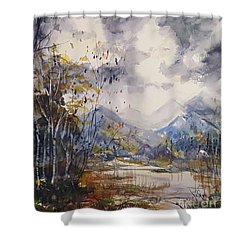 Shower Curtain featuring the painting Fall In The Mountains by Reed Novotny