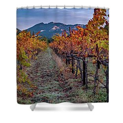 Shower Curtain featuring the pastel Fall In Wine Country by Bill Gallagher