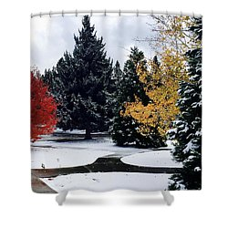 Fall Into Winter Shower Curtain by Russell Keating