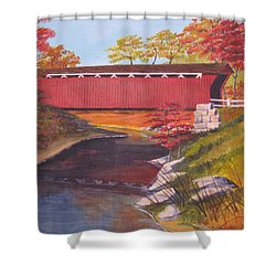 Fall Is In The Air Shower Curtain by CB Woodling