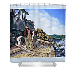 Fall Lake Train Shower Curtain