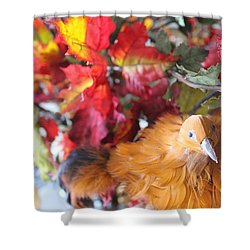 Fall Leaves W/bird Shower Curtain