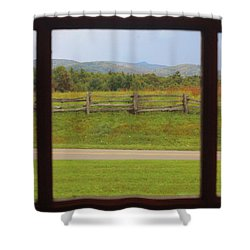 Fall Mountains Through The Window  Shower Curtain