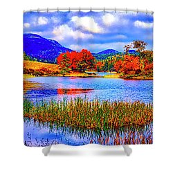 Fall On Long Pond Acadia National Park Maine  Shower Curtain