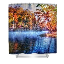 Shower Curtain featuring the photograph Fall On The Lake by Debra and Dave Vanderlaan