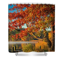 Shower Curtain featuring the photograph Fall On The Patuxent by Cindy Lark Hartman