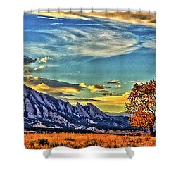 Shower Curtain featuring the photograph Fall Over The Flatirons by Scott Mahon
