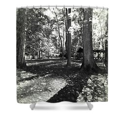 Fall Picnic Bw Painted Shower Curtain