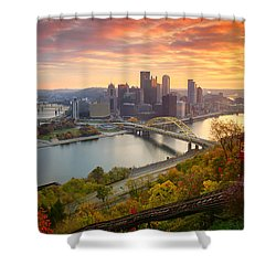 Shower Curtain featuring the photograph Fall Pittsburgh Skyline  by Emmanuel Panagiotakis