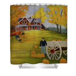 Fall Pumpkin Harvest Shower Curtain