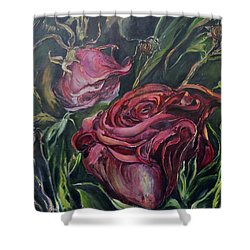 Shower Curtain featuring the painting Fall Roses by Nadine Dennis