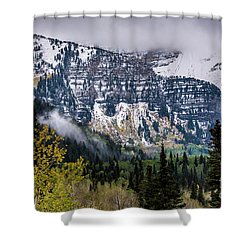 Shower Curtain featuring the photograph Fall Storm In Wasatch Mountains - Utah by Gary Whitton