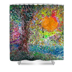 Shower Curtain featuring the painting Fall Sun by Jacqueline Athmann