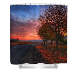 Fall Sunrise Shower Curtain by Lynn Hopwood