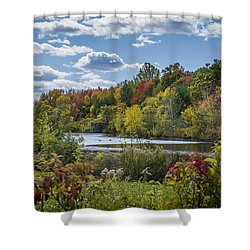 Fall Time On The Lake Shower Curtain