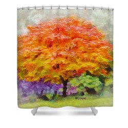 Shower Curtain featuring the painting Fall Tree by Greg Collins