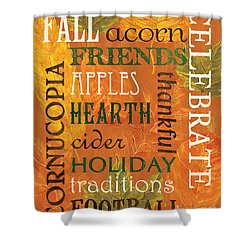 Fall Typography 2 Shower Curtain