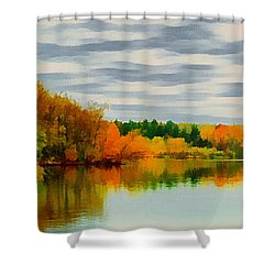 Fall Water Painterly Rendering Shower Curtain by Michael Flood