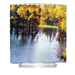 Fall Yellow Boarder Shower Curtain