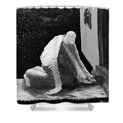 Fallen Angel Noir  Shower Curtain