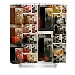 Shower Curtain featuring the mixed media Fallen Egg Flower's by Ann Calvo