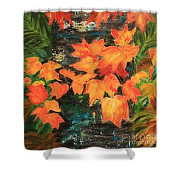 Fallen Leaves Shower Curtain by Nancy Czsjkowski