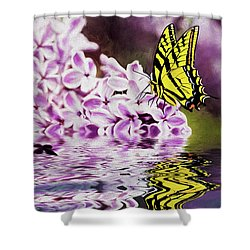Fallen Lilacs Shower Curtain by Diane Schuster