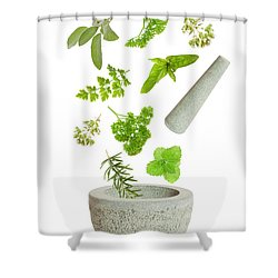 Falling Herbs Shower Curtain by Amanda Elwell