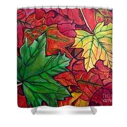 Shower Curtain featuring the painting Falling Leaves I Painting by Kimberlee Baxter